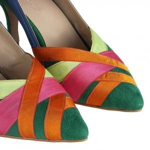 Stiletto Ayakkabı Renkli Şeritli