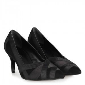 Siyah Süet Stiletto Ayakkabı Şeritli
