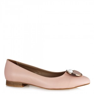 Pudra Rengi İnci Tokalı Babet Ayakkabı