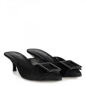 Siyah Süet Tokalı Sivri Burun Stiletto Terlik