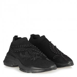 Siyah Nakışlı Desenli Streç Spor Ayakkabı