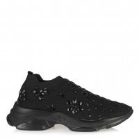 Siyah Streç Spor Ayakkabı Damla Taşlı