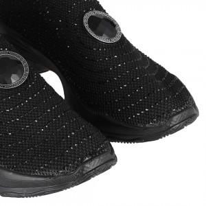 Streç Spor Ayakkabı Siyah Yuvarlak Taşlı