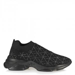 Streç Spor Ayakkabı Siyah Yıldız Taşlı
