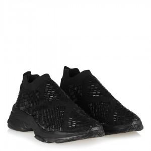 Siyah Pul İşleme Taşlı Streç Spor Ayakkabı