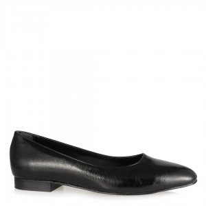 Babet Ayakkabı Siyah Kırışık Köşeli Babet