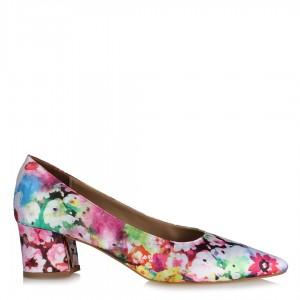 Renkli Çiçekli Kalın Topuklu Stiletto