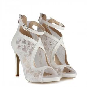 Nikah Ayakkabısı Kırık Beyaz Dantelli Bootie