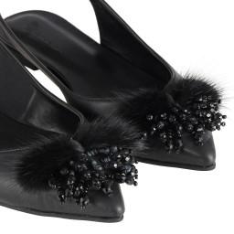 Siyah Arkası Açık Tüylü Tokalı Babet Ayakkabı