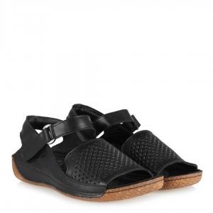 Hakiki Deri Sandalet Delikli Siyah