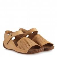 Bej Hakiki Deri Comfort Sandalet