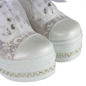 Gelin Ayakkabısı Spor Model İncili Taşlı