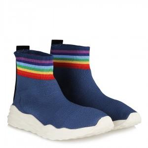 Streç Spor Ayakkabı Kot Mavi  Bilekli