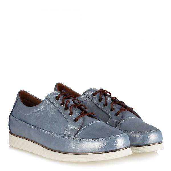Hakiki Deri Bağcıklı Kot Mavi Ayakkabı