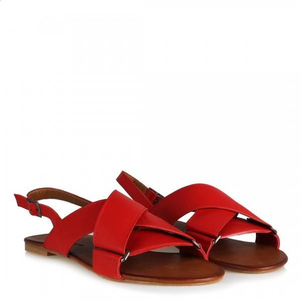 Kırmızı Çapraz Bantlı Hakiki Deri Sandalet