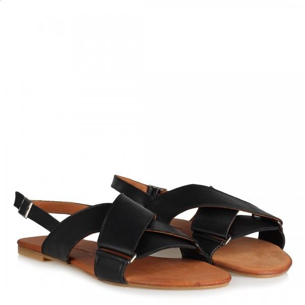 Çapraz Bantlı Hakiki Deri Sandalet Siyah Renk