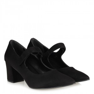 Siyah Süet Topuklu Ayakkabı Kemerli Sivri Burun
