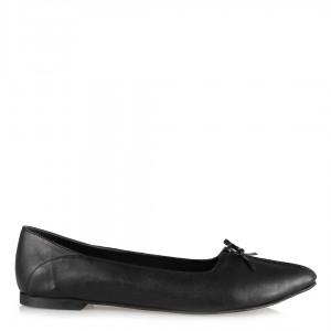 Fiyonklu Babet Ayakkabı Siyah Hakiki Deri
