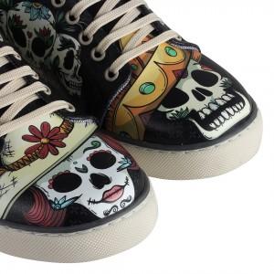 Sneakers Siyah Kuru Kafa Baskılı Spor Ayakkabı