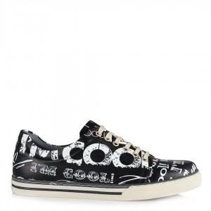 Baskılı Cool Siyah Bağcıklı Sneakers