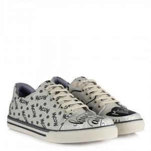 Sneakers Bej Baskılı Spor Ayakkabı