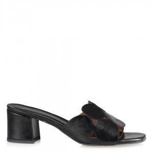 Topuklu Terlik Yuvarlak Desen Siyah