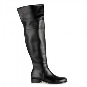 Dizüstü Binici Kadın Çizme Siyah Fermuarlı Yırtmaçlı
