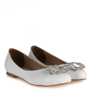 Beyaz Taşlı Babet Ayakkabı