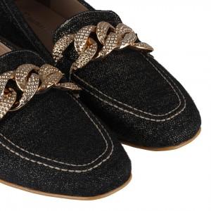 Loafer Ayakkabı Kot Rengi Zincirli