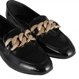 Siyah Rugan Zincir Detaylı Loafer