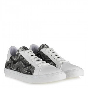 Spor Ayakkabı Bağcıklı Beyaz Yılan