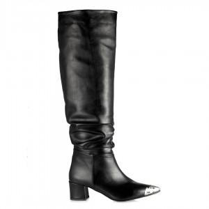 Siyah Çizme Metal Burunlu Büzgülü Model