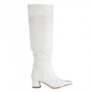 Beyaz Çizme Metal Burunlu Büzgülü Model
