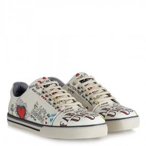 Sneakers Ayakkabı Beyaz Desenli Kalpli