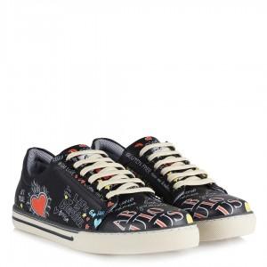 Sneakers Siyah Kalpli Baskılı Ayakkabı