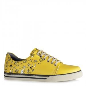 Sneakers Ayakkabı Bağcıklı Sarı Desenli