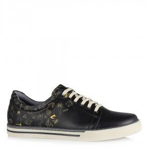 Sneakers Ayakkabı Bağcıklı Desenli Siyah Renk