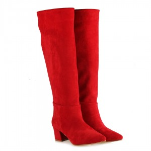 Kırmızı Süet Topuklu Çizme