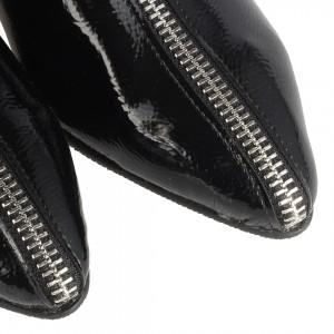 Topuklu Siyah Rugan Dizüstü Fermuarlı Çizme