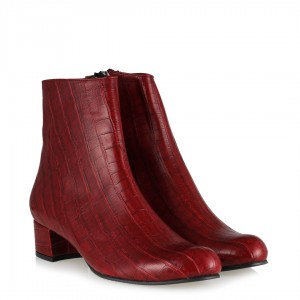 Topuklu Bot Kırmızı Crocodile
