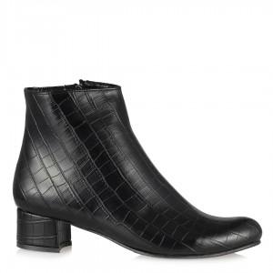 Siyah Crocodile Topuklu Bot