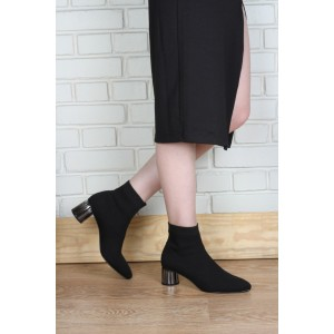 Çorap Bot Siyah Örgü Model Gümüş Topuk