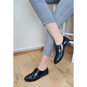 Siyah Hakiki Deri Rugan Oxford Bağcıklı Ayakkabı