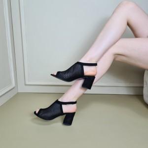 Siyah Süet Fileli Topuklu Ayakkabı Sandalet
