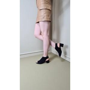 Topuklu Yazlık Sandalet Siyah Süet