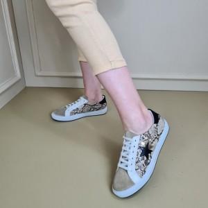 Spor Ayakkabı Vizon Yılan Desenli