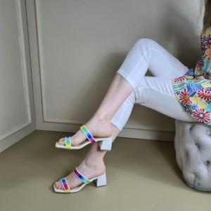 Topuklu Terlik Beyaz Bantlı Renkli