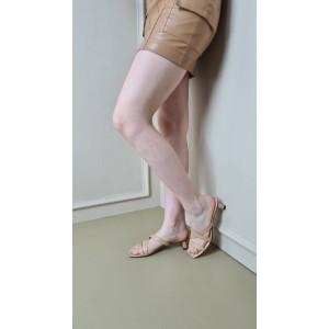 Ten Rengi Topuklu Terlik Çapraz Bantlı