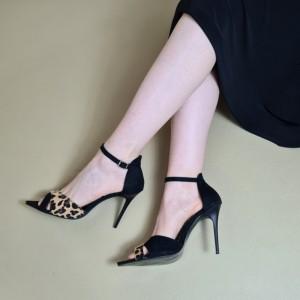 Siyah Leopar Açık Stiletto Ayakkabı