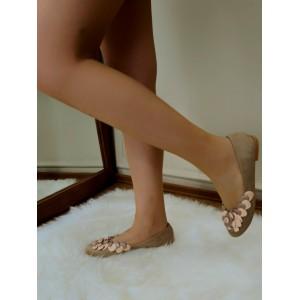 Babet Ayakkabı Çiçek Detaylı Vizon Süet